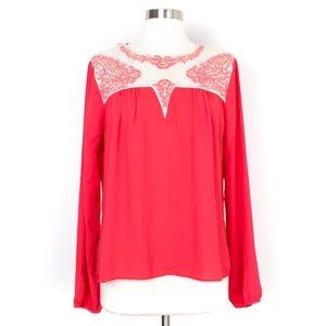 BKE Boutique Sequin Stitched Blouse AO